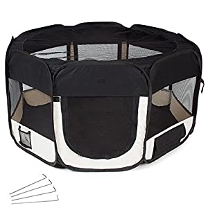 TecTake Pet Play Pen Dog Cat Puppy Fabric Soft Foldable Playpen 125 x 125 x 64 cm black