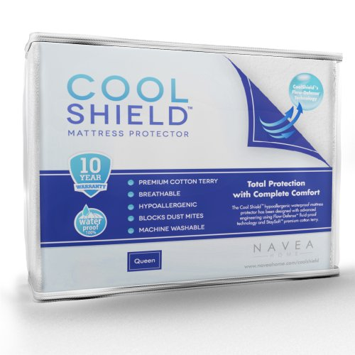 Cool Shield No Allergy Waterproof Mattress Protector - Breathable Terry Cover Protects Against Dust Mites, Allergens, Bacteria, Mold And Fluids - See Reviews - Machine Washable Mattress Protector - Best 10-Yr Guarantee - Size: Queen (60 In X 80 In) front-1036771