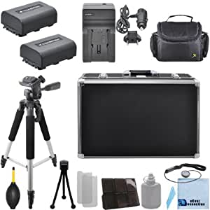 "2 NP-FV50 Batteries + Car/Home Charger + 57"" Tripod for Sony Handycam NEX-VG10, NEX-VG20, NEX-VG20H, NEX-VG900, HDR-CX110, HDR-CX130, HDR-CX150, HDR-CX150E, HDR-CX160, HDR-CX170 & More.. Camcorder + Camera Case + Hard Case + Lens Blower + Complete Starter Kit & More"