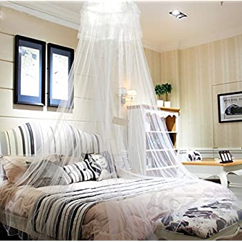HIG Mosquito Net Bed Canopy with Lace Dome, White