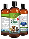 Organic Pet Shampoo & Conditioner: Flea & Tick by Pet Diesel 17 oz For Shiny & Healthy Hair/Coat