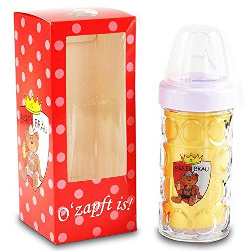 2-x-Nuckelkrug-Bren-Bru-Rot-Baby-Trinkflasche-18-cm