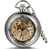 JewelryWe ウッド懐中時計 アンティーク風 手巻き式 ネックレス 時計,ペンダント ウォッチ ポケットウォッチ,透かし彫り スケルトン ローマ数字,合金,バレンタイン プレゼント