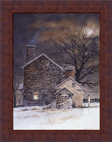Blue Moon by Ray Hendershot Country Stone House 11x14 Wall Art Print Picture Framed