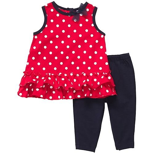 Carter'S 2Pc Tunic Set - Dots With Ribbon-6 Months front-1056991