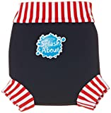 Splash About Kids Reusable Swim Nappy - THE Happy Nappy - Navy/Red/White Stripe Rib, XXL, Toddler