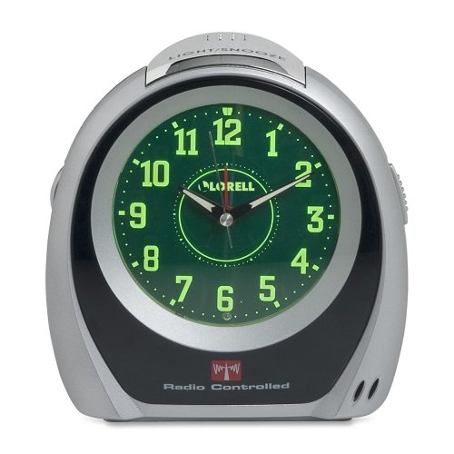Lorell Atomic Desk Clock, 5-1/2 by 2-3/4 by 5-3/4-Inch, Silver/Black