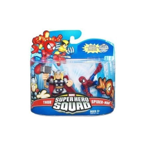 Marvel Superhero Squad Series 21 Mini 3 Inch Figure 2Pack Spiderman Thor by Hasbro (English Manual)