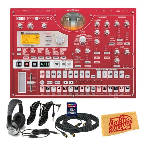 Korg ESX1SD Electribe Music Production Sampler Bundle with 8 GB SD Card, Two 10-Foot MIDI Cables, Two 10-Foot Instrument Cables, Headphones, and Polishing Cloth