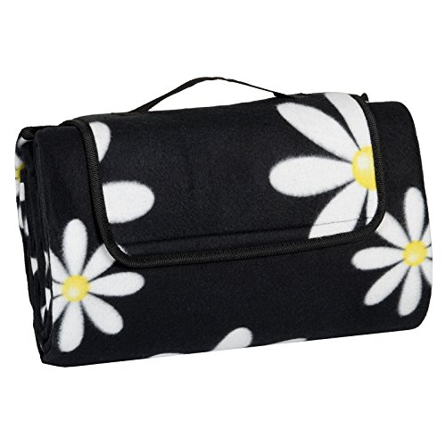 daisies-folding-fleece-blanket-camping-beach-waterproof-backing-picnic-mat-rug