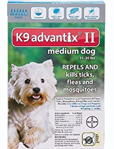 Advantix II K9 Teal - 6-Month Treatment for Medium Dogs 11-20 lbs -- 6 Tubes