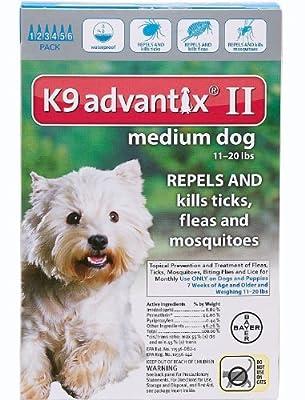 Advantix II K9 Teal - 6-Month Treatment for Medium Dogs 11-20 lbs -- 6 Tubes