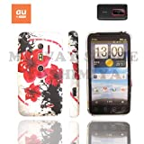 htc EVO 3Dケース stylish design silicon Case (au ISW12HT対応)【Red Flower (赤花)】+ 液晶保護フィルム1枚