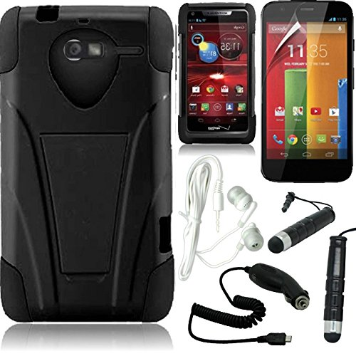 [Stop&Accessorize] Black Blue Dual Layer Fitted Cover T Kickstand Case For Motorola Luge + Free Accessory Kit