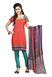 Swagpod Red Crepe Printed Unstitched Dress Material SWAG00279