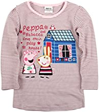 Peppa Pig Little Girls Long Sleeve Embroidered Stripe Cotton T-Shirts1-6Y