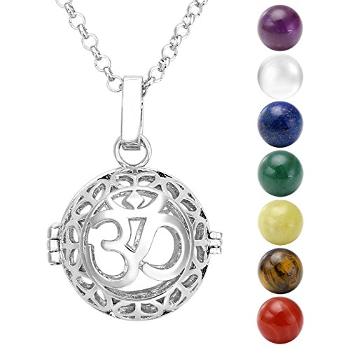 Jovivi - Collana con ciondolo in argento, motivo: simbolo OM, con 7 pietre Chakra naturali tibetane / buddiste rotonde, da 16 mm