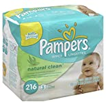 Pampers Soft & Strong Wipes, Natural Clean, Unscented, Refills, 3 refills 216 wipes