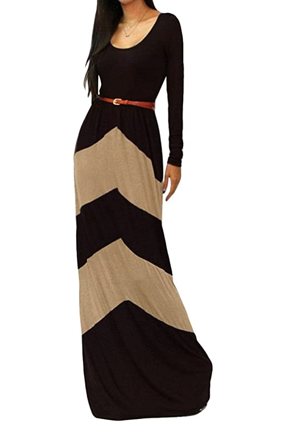 Pink Queen reg Womens Boho Scoop Neck Chevron Striped Color Blocking Maxi Dress