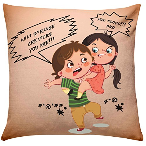 Giftsbymeeta Brother Sister Fighting Cushion RAKHIGIFTS8498 With Filler 12x12 InchesGift For
