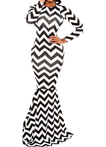 Womens Sexy Black And White Zigzag Pattern Backless Fishtail Maxi Dress (L, Black+White)