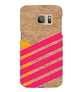 PrintVisa Yellow And Pink Stripes 3D Hard Polycarbonate Designer Back Case Cover for Samsung Galaxy S7