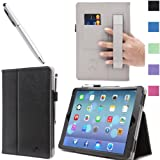 i-BLASON Apple iPad Air Case Auto Wake/ Sleep Smart Case Leather Case (Elastic Hand Strap, Multi-Angle, Card Holder) With Bonus Stylus (Multi-Color to Choose From) 3 Year Warranty (Black)