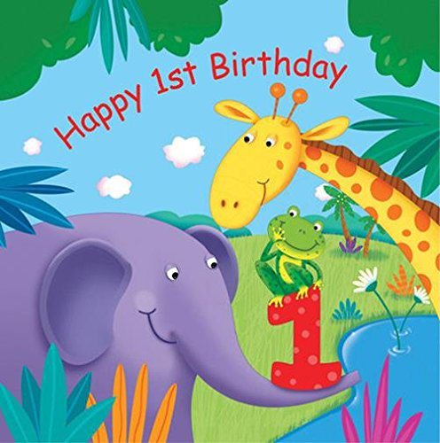 Creative Converting Jungle Buddies First Birthday Luncheon Napkins, 16 Count