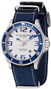 "Stuhrling Original Men's 395C.331OC2 Aquadiver ""Regatta Champion"" Stainless Steel and Blue Canvas Diving Watch"