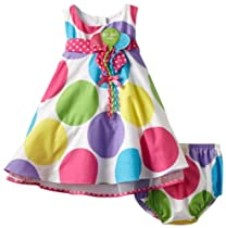 Bonnie Baby Girls Infant Multi Dot Birthday Dress, Multi, 18 Months
