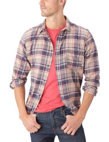 Cheap Monday - Camicia a quadri, manica lunga, uomo, Blu (Sand Blue Check), XS