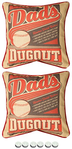 """Manual Woodworkers Sdpmcd Dad'S Dugout Man Cave 2-Pillow Set 12""""X12"""" With 6-Pack Of Tea Candles"""