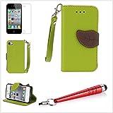 Alefant PU Leder Blatt Textur Flip Book Stil Handyh�lle mit Kartenfach f�r iPhone 4 4s Tasche Schale (Gr�n)
