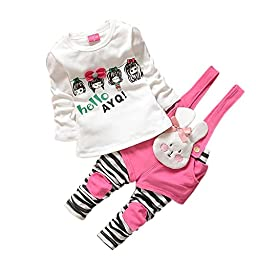 Baby Girls\' Spring Fall Long Sleeve Top + Stripped Bunny Overalls Set(S,Rose)