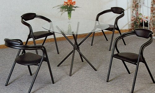 Cheap 5pc Modern Tube Glass Top Dining Room Table Chairs Set (VF_dinset-2043-2935)