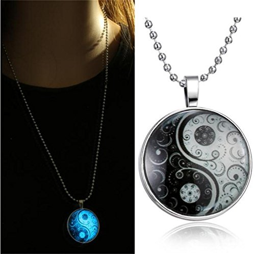 BeOne®Simple Vintage Yin Yang Pendant Glow in the Dark Necklace Hallowmas Christmas Gift (Pattern Yin Yang)