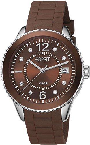 Esprit 304 STAINLESS STEEL A.ES105342016 - Reloj analógico de cuarzo para mujer, correa de resina color marrón