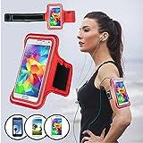 SAVFY® Rouge Brassard Armband Sport pour Samsung Galaxy S3/S4/S5 / GT-i9300/i9500/i9600 pour le Jogging / Gym / Sport - confortable avec sangle réglable