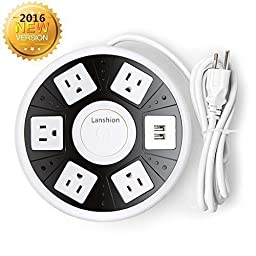 Power Strip, Lanshion Smart 5-Outlet with 2-USB UFO Shape Surge Protector Power Strip with 6.5 ft Cord (Black and White)