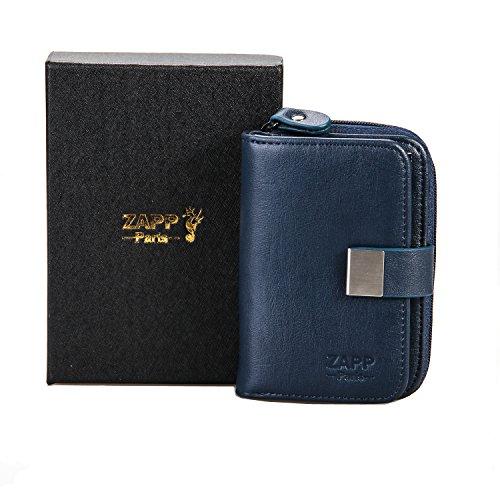 ZAPP - Custodia portachiavi multifunzione cuoio genuino 6 ganci chiave (colore: blu) e con 6 tasche interne portafoglio e carte di credito