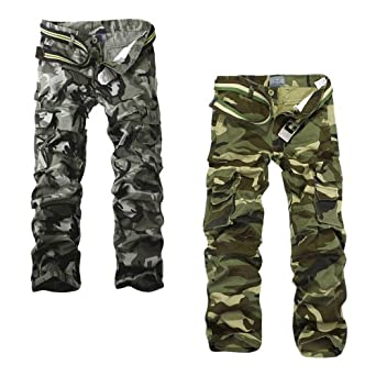 Aubig Pack of 2 Men Army Camo Camouflage Outdoor Pants Woodland Asian Size 34