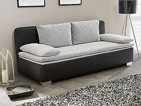 Schlafsofa, Couch Duana 203x90cm, hellgrau schwarz Schlafcouch Sofa Doppelliege Dauerschläfer