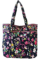Vera Bradley Vera Tote in Ribbons with Solid Pink Interior