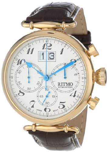Ritmo-Mundo-Unisex-7012-YG-Corinthian-Classic-Quartz-Chronograph-Three-Oversized-Subdials-Watch