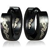 Black Stainless Steel Dragon Huggie Hoop Earrings