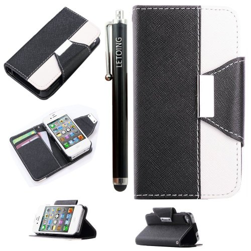 LETOiNG4WT12E Wallet Leather Carrying Case Cover With Credit ID Card Slots/ Money Pockets For iPhone 4/4SBlack White Picture