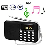 BeiLan Mini Digital AM FM Pocket Radio Portable Speaker Mp3 Music Player Stereo Sound Support TF Card USB Disk with LED Screen Display and Emergency Flashlight Function