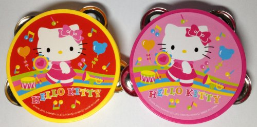 Sanrio Hello Kitty Toy Tambourine - Yellow and Pink 2pcs SET