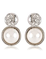 Trendy Baubles Pearl Stud Earings For Women White