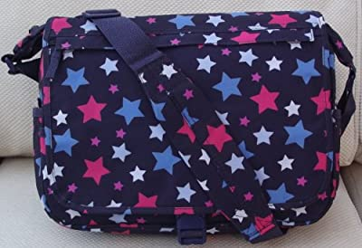 Stars design A4 folder Size Courier or sling style messenger bag Navy and Red travel cabin or hand luggage school